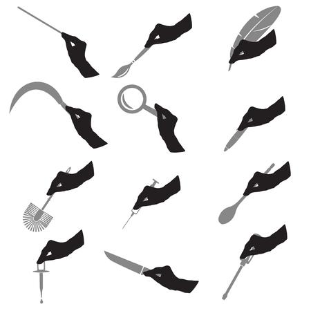 goteros: negro silueta de Hans con herramientas Vaus