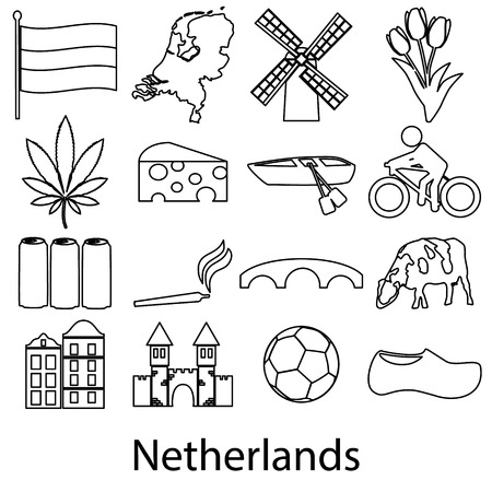 clogs: Netherlands country theme outline symbols icons set eps10