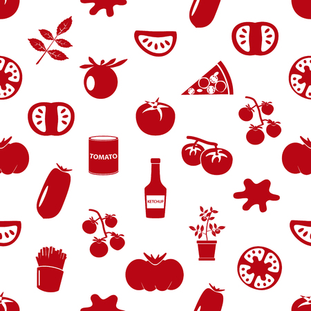 frites: tomatoes theme simple icons red seamless pattern eps10 Illustration