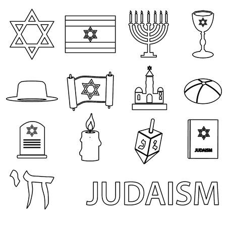 talmud: judaism religion symbols vector set of outline icons eps10