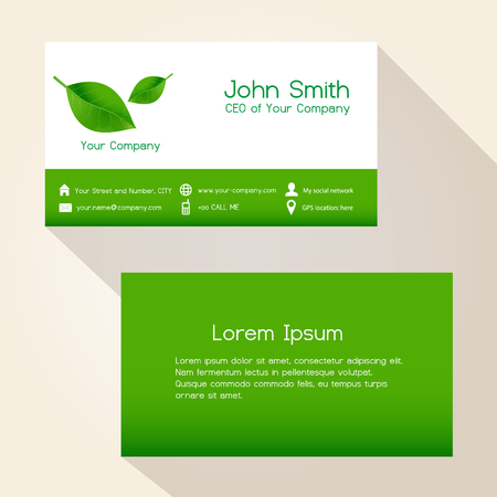 green card: simple nature green leaf business card design eps10