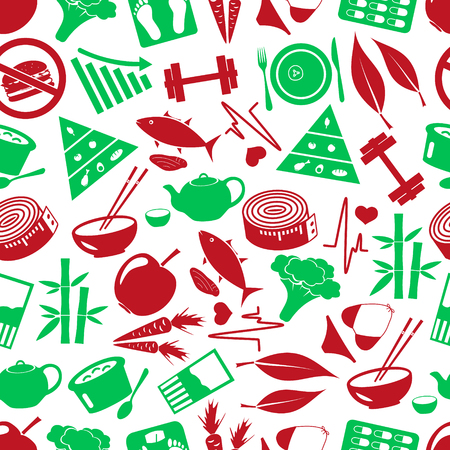 life style: set of green  diet and healthy life style theme icons seamless green pattern eps10
