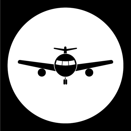 cockpit: simple front view airplane isolated black icon eps10 Illustration