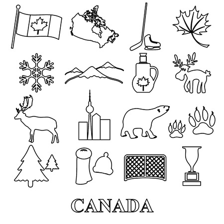 canada country: canada country theme symbols outline icons set eps10 Illustration