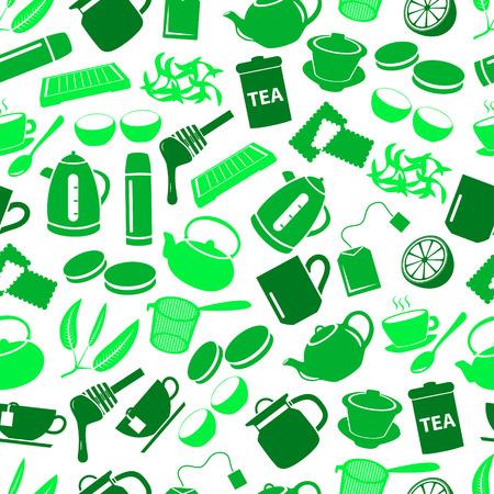 tearoom: tea theme green simple icons seamless pattern eps10