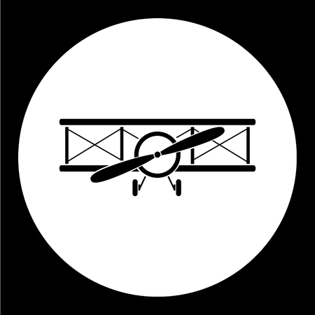 simple front view old airplane isolated black icon eps10