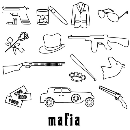 tommy: mafia criminal black outline symbols and icons set eps10