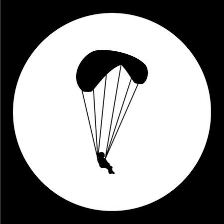 aeronautical: simple parachutist man isolated black icon eps10 Illustration