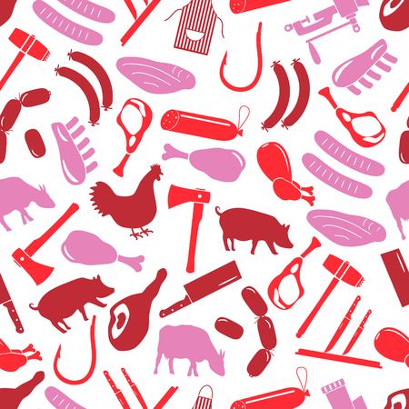 knive: butcher and meat shop icons seamless red pattern eps10