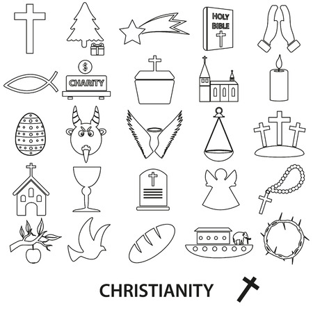 noe: christianity religion symbols vector set of outline icons eps10 Illustration