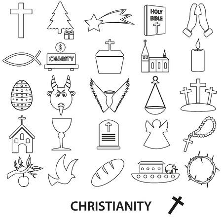 christianity religion symbols vector set of outline icons eps10 Ilustração