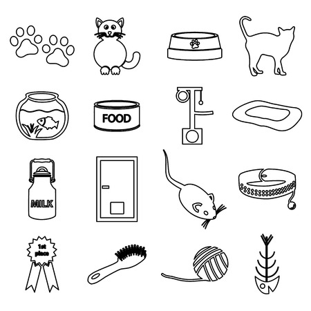 mamal: cats pets items simple black outline icons set eps10 Illustration