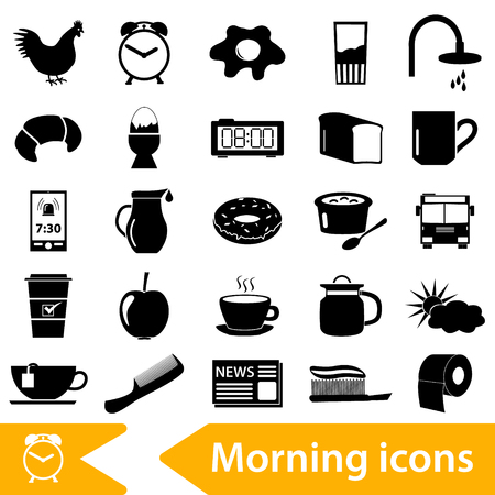 rooster at dawn: morning wake up theme black icons set eps10 Illustration