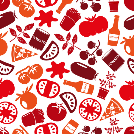 frites: red tomatoes theme simple icons seamless pattern eps10 Illustration