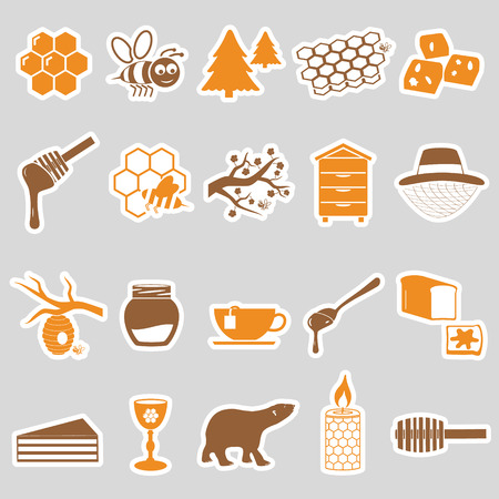 bee and flower: set of honey theme stickers icons eps10 Illustration