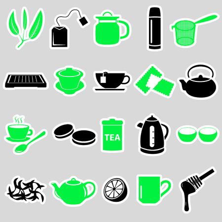 tearoom: tea theme simple stickers icons set eps10