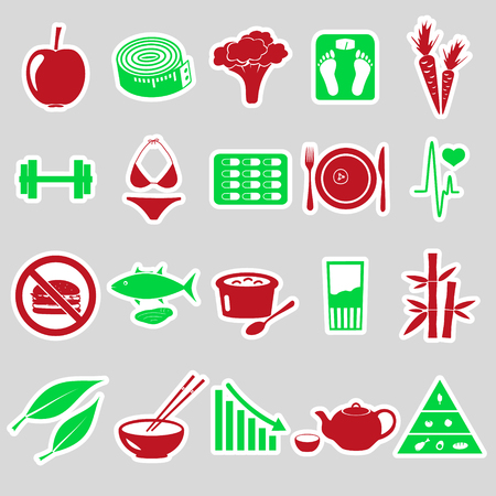 life style: set of diet and healthy life style theme stickers eps10