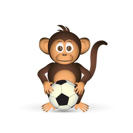 little league: cute chimpanzee holding football ball sport little monkey  eps10
