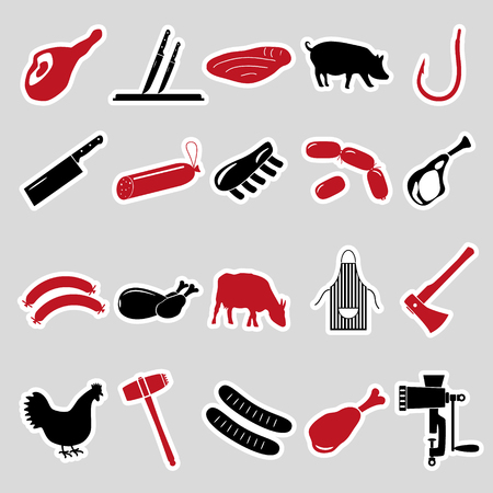 knive: butcher and meat shop black and red stickers set eps10 Illustration