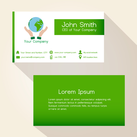 green card: simple save the planet green business card design eps10