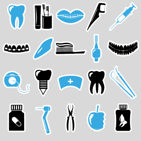stomatologist: set of dental theme blue stickers eps10 Illustration