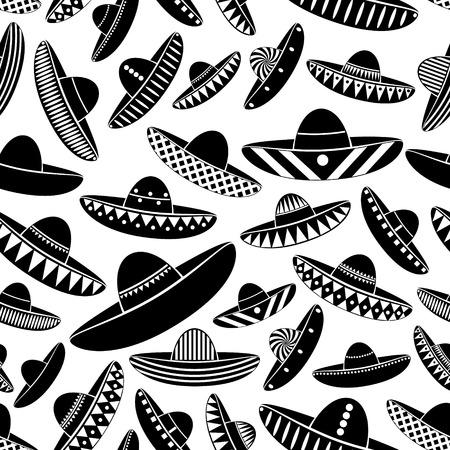 variations: Mexico sombrero black hat variations icons seamless pattern eps10 Illustration