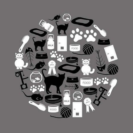 cats pets items simple black and white icons in circle eps10