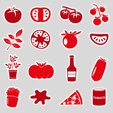 frites: tomatoes theme red simple stickers set eps10 Illustration