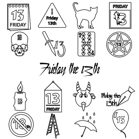 bad luck: friday the 13 bad luck day outline icons set eps10