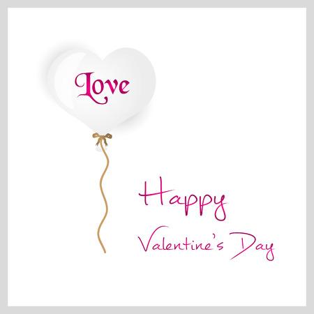 helium balloon: white helium balloon heart shape valentine card eps10
