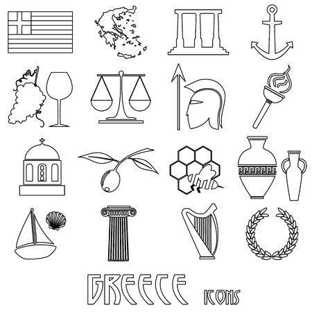 cruet: greece country theme symbols and outline icons set