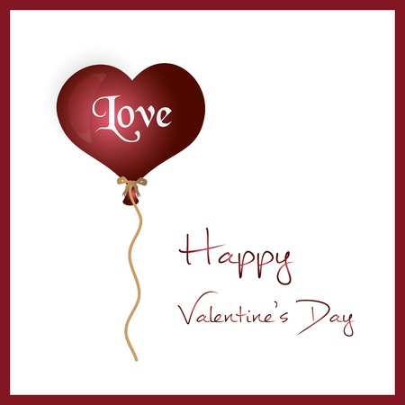 inflated: red helium balloon heart shape valentine card