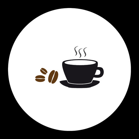 thirsty: simple black coffee cup and coffee beans icon Illustration