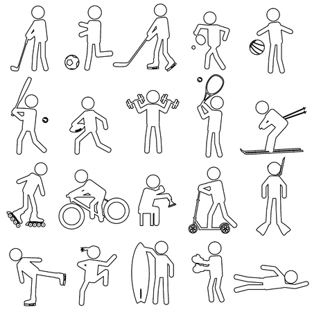 healty lifestyle: sport silhouettes black simple outline icons set Illustration