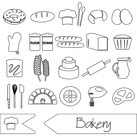 knive: simple black bakery items outline icons set