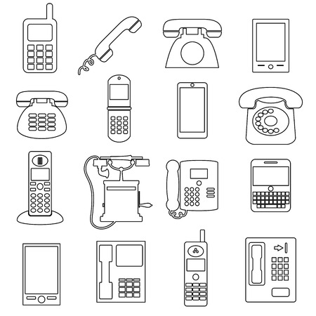 cell phone booth: various black phone symbols and outline icons set
