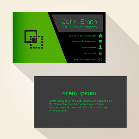 skew: simple black and green business card design