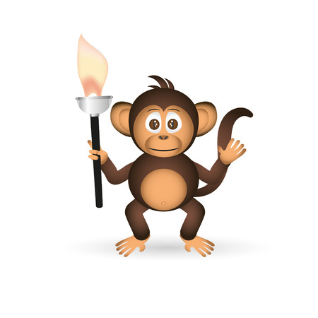 fire in the belly: cute chimpanzee little monkey holding flame torch