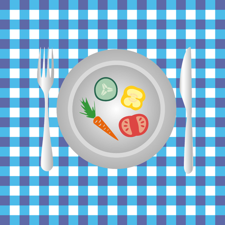 knive: plate with vegetables on the table diet food