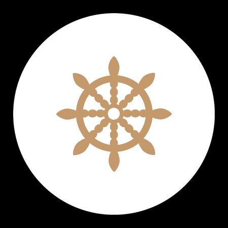 taget: nautical simple symbol wood brown rudder Illustration