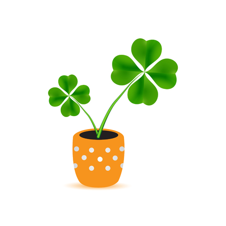 plant pot: dotted flower pot with cloverleaf plant icon