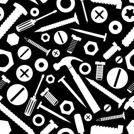hardware: hardware screws and nails with tools black seamless pattern