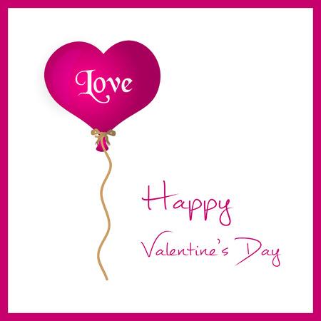 helium balloon: pink helium balloon heart shape valentine card