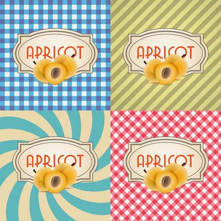 apricots: four types of retro textured labels for apricots