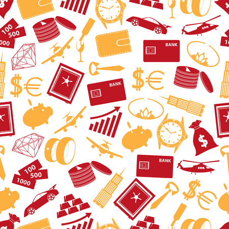 richness: richness and money theme color icons seamless pattern Illustration