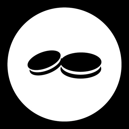 shortbread: two sweet biscuits isolated simple black icon