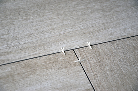 tiling: floor tiling laying of paving detail photography Stock Photo