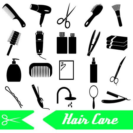 hair care theme black simple icons set