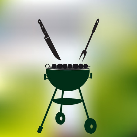 garden party: garden party meat grill with food on abstract green background Illustration