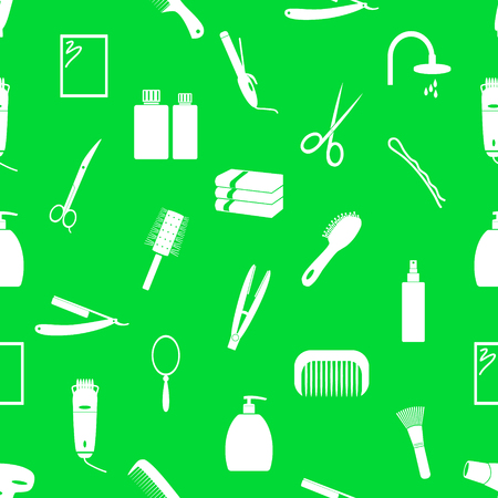 green hair: hair care theme green and white seamless pattern